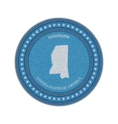Label with map of mississippi Denim style vector