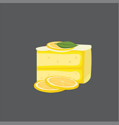 lemon cheesecake modern cake vector image
