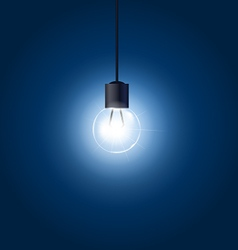 Light bulb hanging on cord on blue background vector