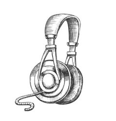 Listening audio device cable headphones ink vector