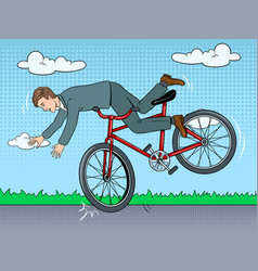 man falling of bicycle pop art vector image
