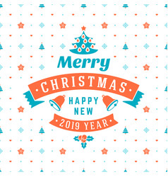 merry christmas and happy new year retro design vector image