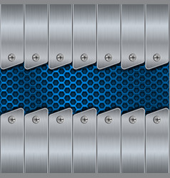 Metal background with rivets and blue perforation vector