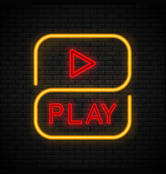 Neon play sign vector