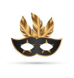 new carnival mask in black color with golden vector image