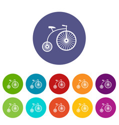Penny-farthing set icons vector