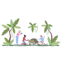 People photographing turtle in jungle flat doodle vector