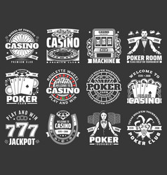Poker club and casino gambling game icons vector