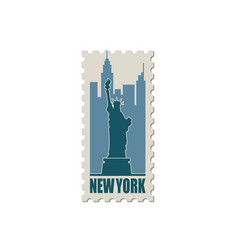 Postage stamp with statue liberty vector