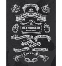 Retro Chalkboard banners and ribbon design vector