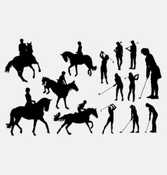 Riding horse and golfer sport silhouette vector