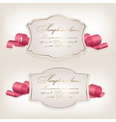 Romantic label with ribbon vetor vector