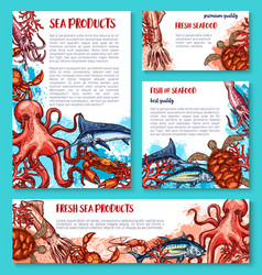 Seafood poster of sketch fresh fish vector