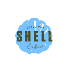 seafood silhouettede sign shell emblem vector image