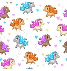 Seamless pattern with cute cartoon horses vector