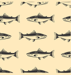 seamless pattern with salmons seafood pattern vector image