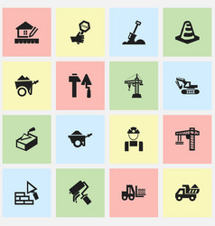 Set 16 editable building icons includes vector