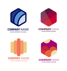 set hexagon logo vector image