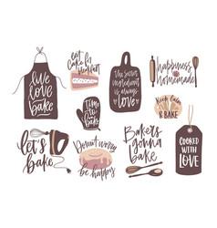 set motivational slogans handwritten vector image