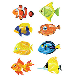 Set of cartoon fish collection of cute colored vector