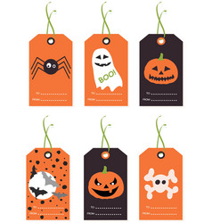 set of cute halloween tags vector image