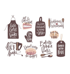 set of motivational slogans handwritten with vector image