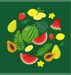 Set summer fruits and tropical leaves in flat vector