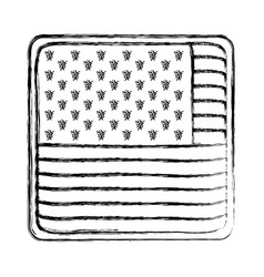 shield in square shape with flag united states of vector image