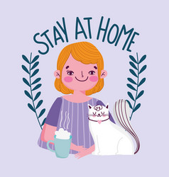 Stay at home young man with coffee cup and cat vector