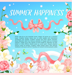Summer orchid or magnolia flowers poster vector