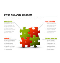 swot made from puzzle pieces vector image