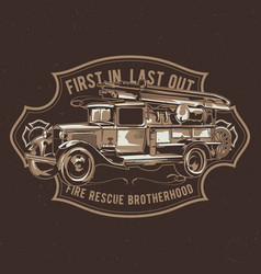 t-shirt label design with fire truck vector image