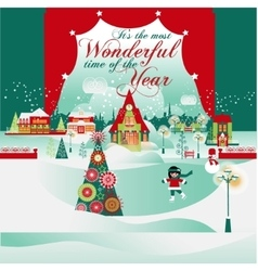 The Most Wonderful Time Christmas Card vector image