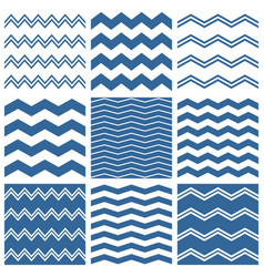 Tile chevron pattern set with sailor blue zig zag vector