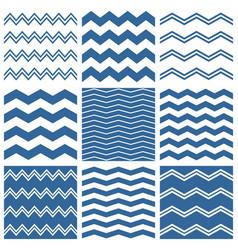 tile chevron pattern set with sailor blue zig zag vector image