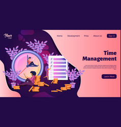 Time management interface landing web page vector