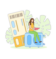 travel vacation trip ticket suitcase filled vector image