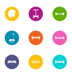 Two wheeled icons set flat style vector