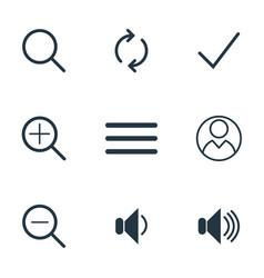 ui icons zoom icon volume icon flat style icon vector image