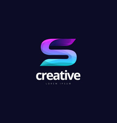 vibrant trendy colorful creative letter s logo vector image