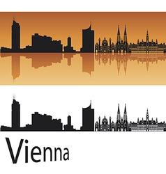 Vienna skyline in orange background vector