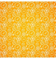 Vintage buttons sew seamless pattern in orange vector image