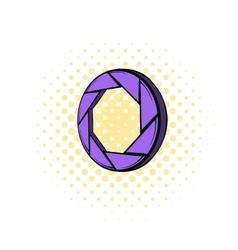 Violet camera aperture icon comics style vector
