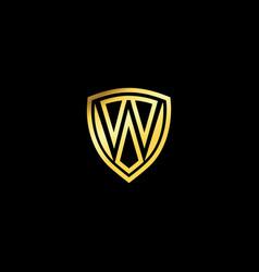 w letter emblem logo luxury gold shield design vector image