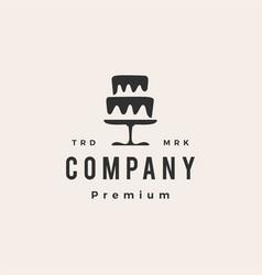 wedding cake bakery shop hipster vintage logo icon vector image