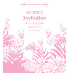 wedding invitation with summer tropic theme vector image
