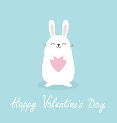 white bunny rabbit holding heart happy valentines vector image