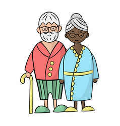 White caucasian grandfather and black african vector