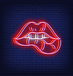 woman lips biting neon sign with chromatic vector image