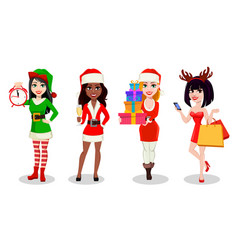 women wearing costumes for holidays vector image